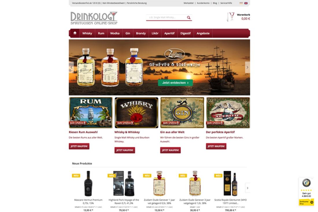 Onlineshop von Drinkology, entwickelt durch die Shopware Agentur wilde van rhee