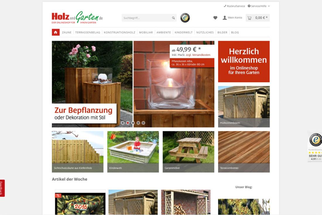 Onlineshop von Holz und Garten, entwickelt durch die Shopware Agentur wilde van rhee
