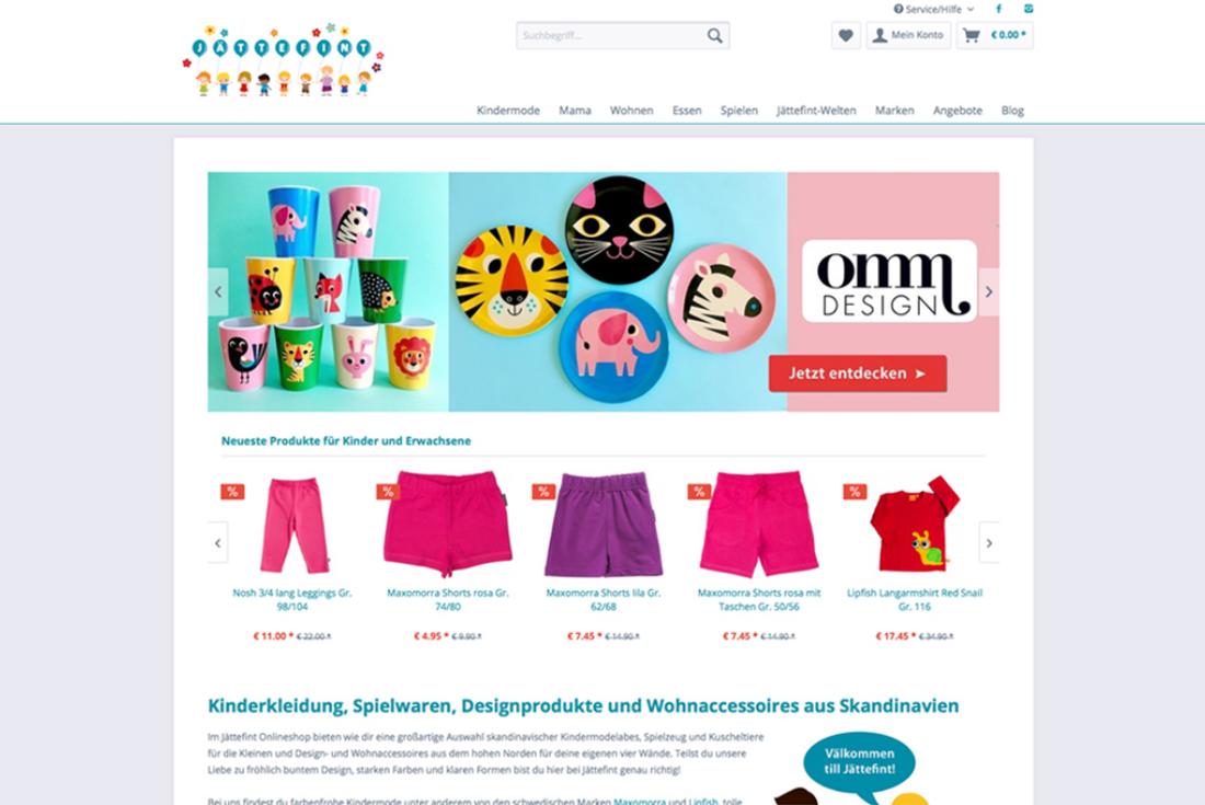 Onlineshop von Jättefint, entwickelt durch die Shopware Agentur wilde van rhee