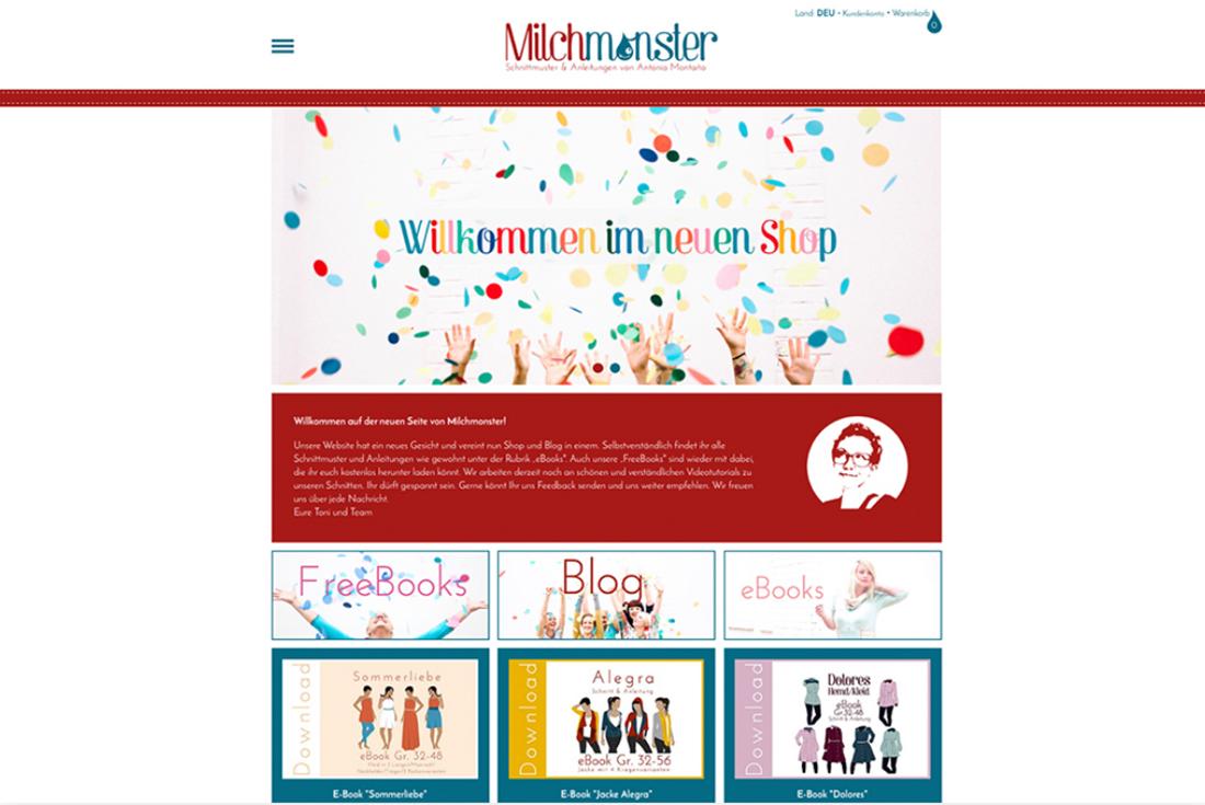 Onlineshop von Milchmonster, Onlineshop erstellen mit wilde van rhee