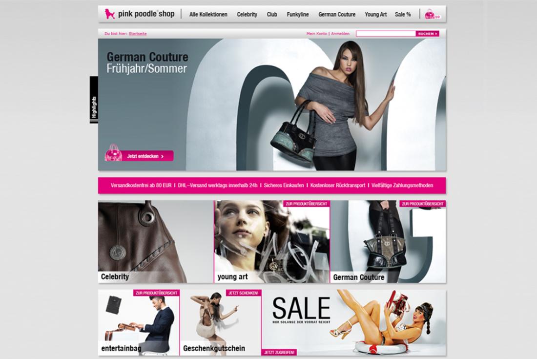 Onlineshop von pink poodle, entwickelt durch die E-Commerce Agentur wilde van rhee