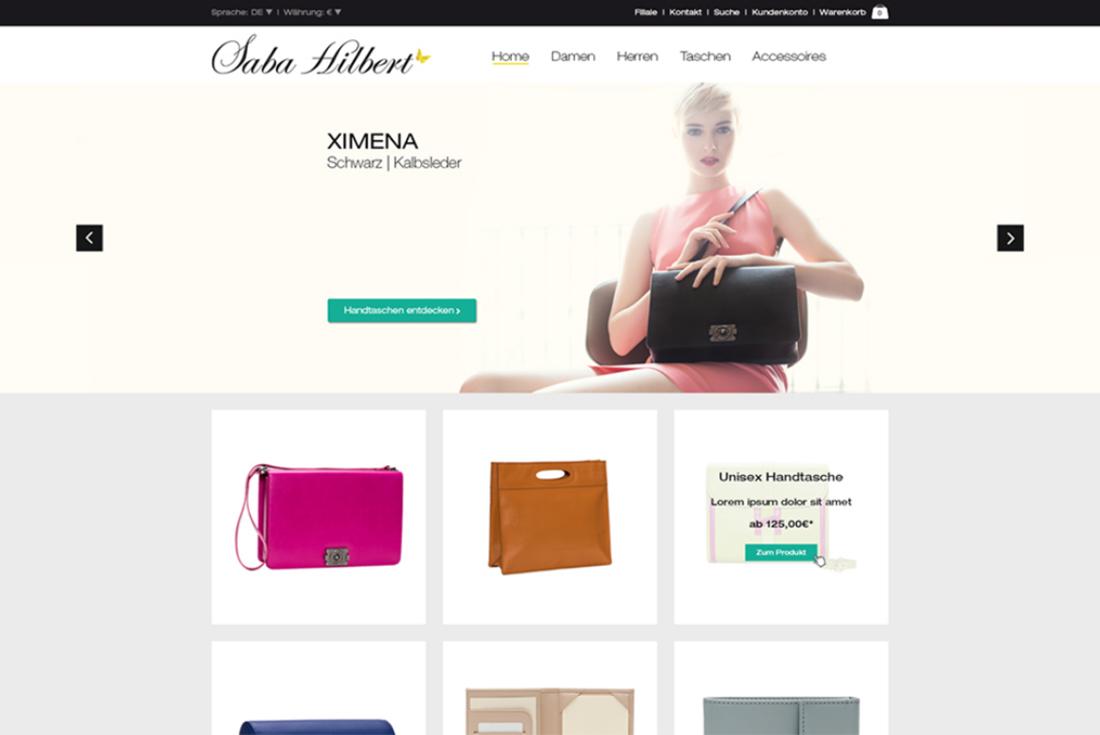 Onlineshop von Saba Hilbert, entwickelt durch die Webdesign Agentur wilde van rhee