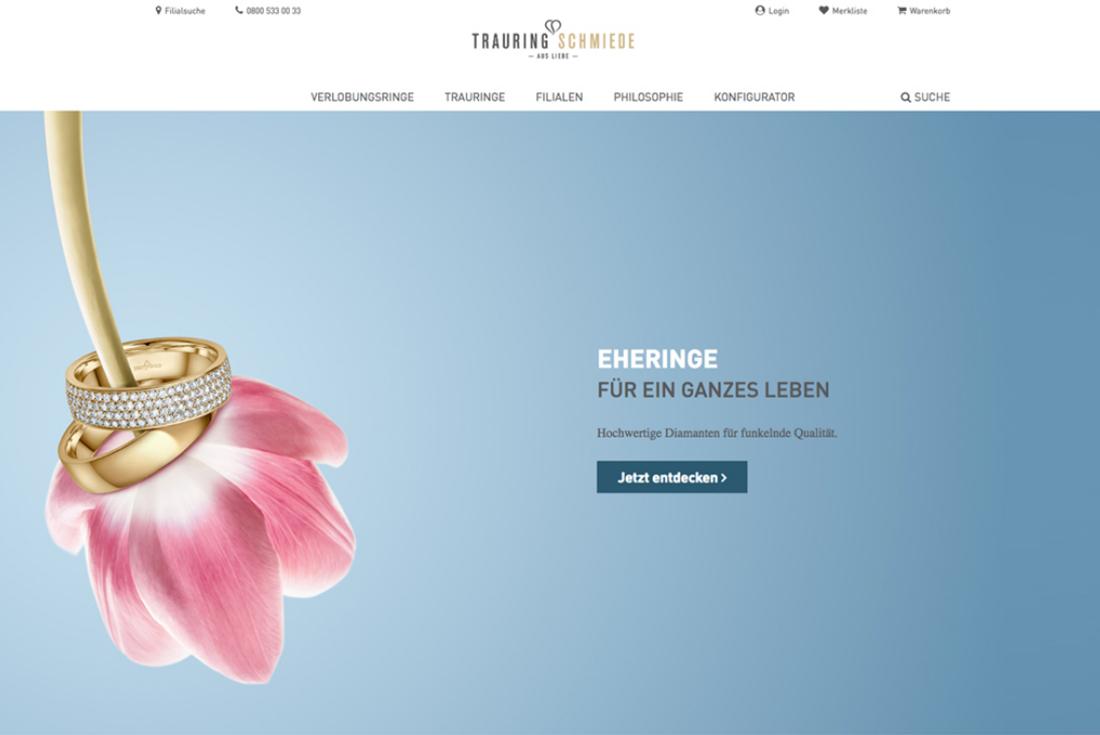Onlineshop der Trauringschmiede, entwickelt durch die Webdesign Agentur wilde van rhee