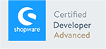Logo Shopware Certified Developer Advanced, Shopware Agentur wilde van rhee