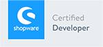 Logo Shopware Certified Developer, Shopware Agentur wilde van rhee