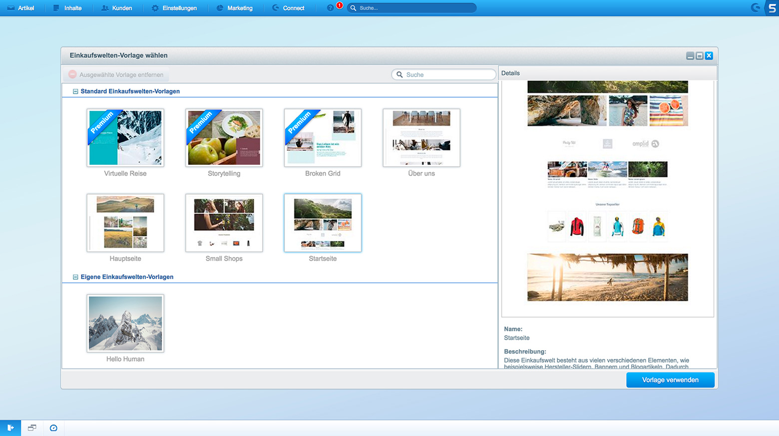 Screenshot vom Shopware 5 Backend