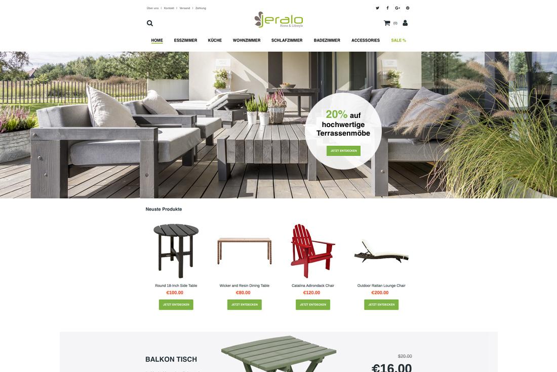 Onlineshop von Jeralo, entwickelt durch die Magento Agentur wilde van rhee