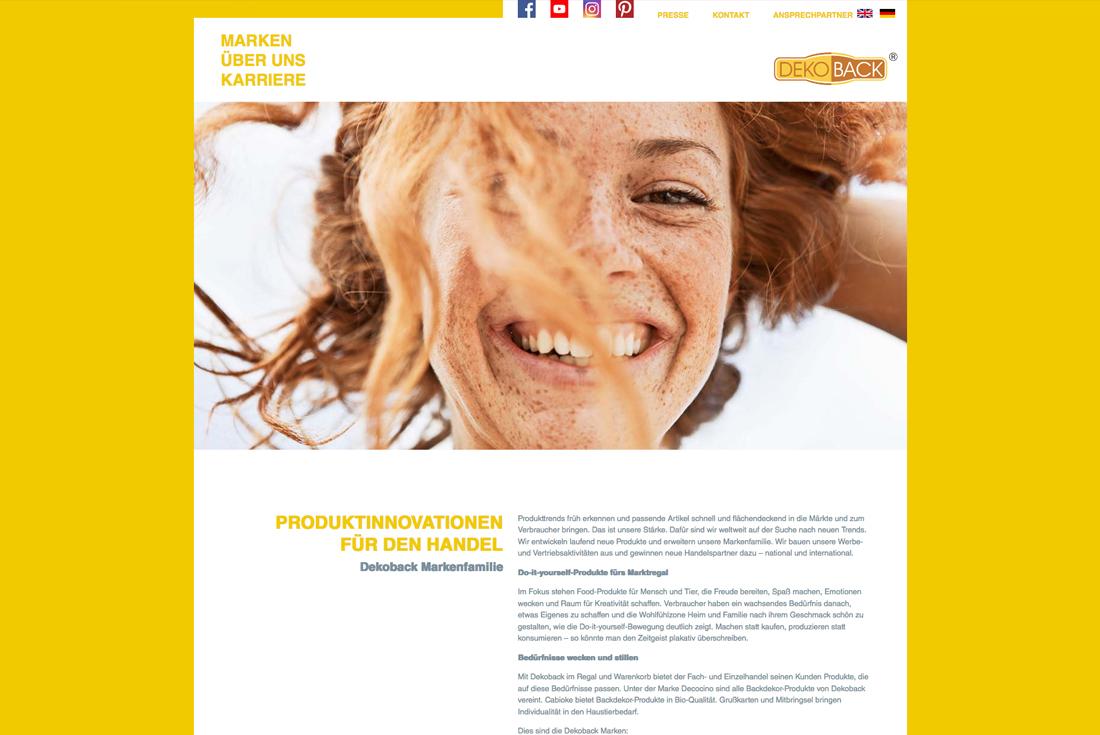 Webseite der Firma DEKOBACK, entwickelt durch die WordPress Agentur wilde van rhee
