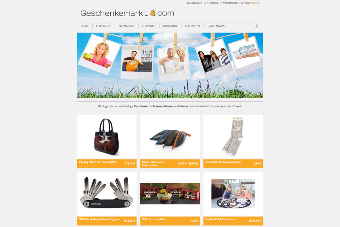 Onlineshop von Geschenkemarkt.com, entwickelt durch die Magento Agentur wilde van rhee