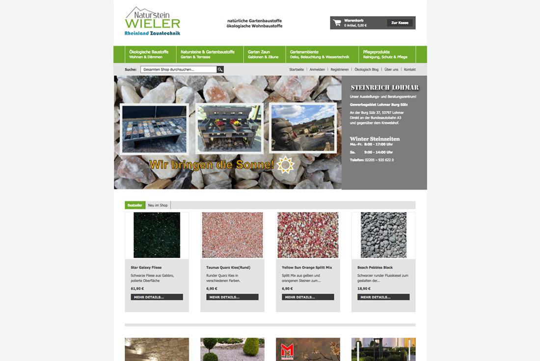 Onlineshop von Naturstein Wieler, entwickelt durch die Magento Agentur wilde van rhee