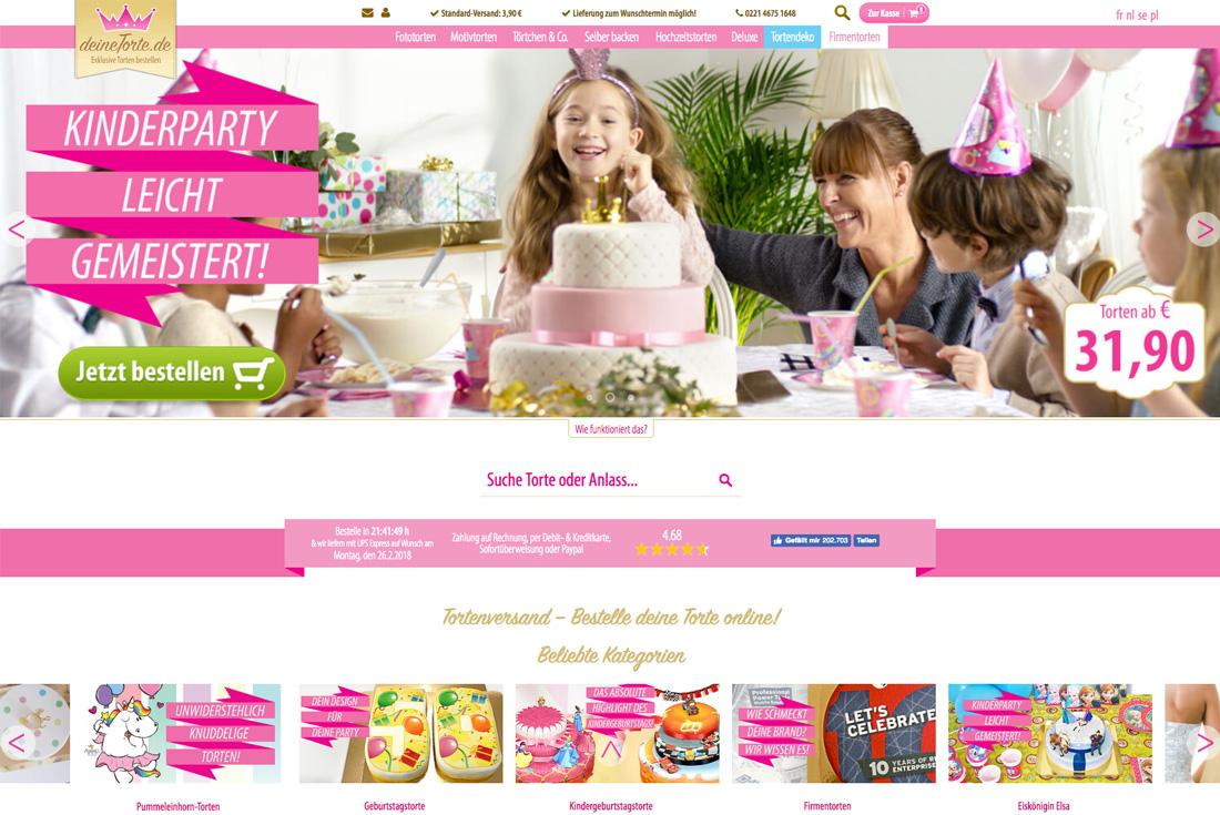 Onlineshop von deineTorte.de, entwickelt durch die Internet Agentur wilde van rhee