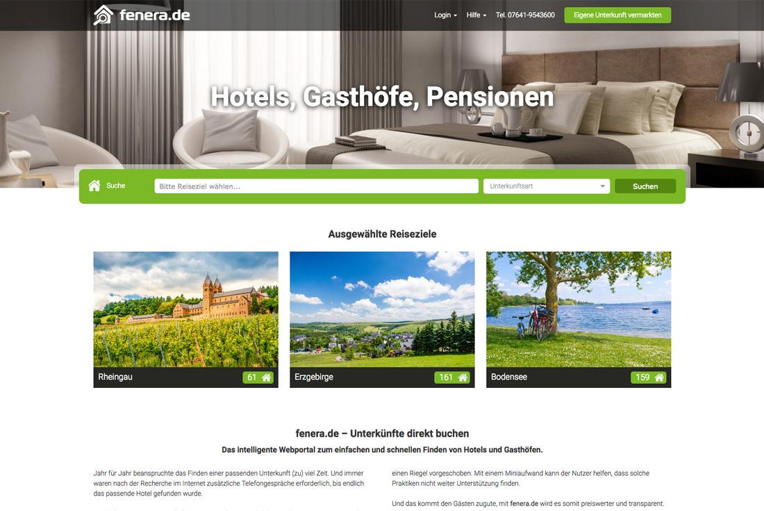 Hotelportal fenera.de, entwickelt durch die Online Agentur wilde van rhee