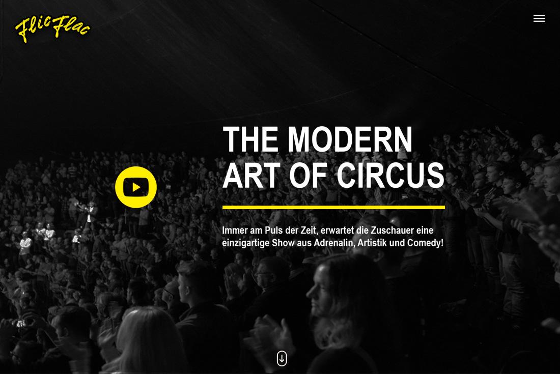 Webseite des Circus FlicFlac, entwickelt durch die Internet Agentur wilde van rhee