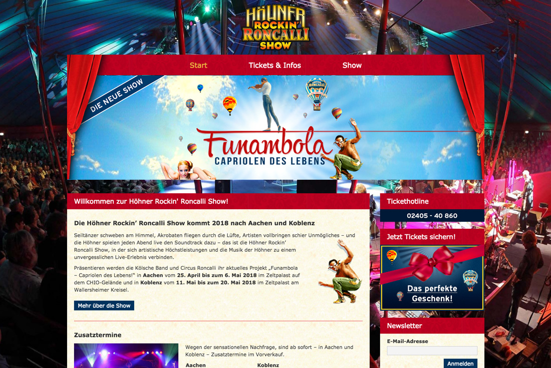 Webseite der Höhner Rockin' Roncalli Show, entwickelt durch die Webdesign Agentur wilde van rhee