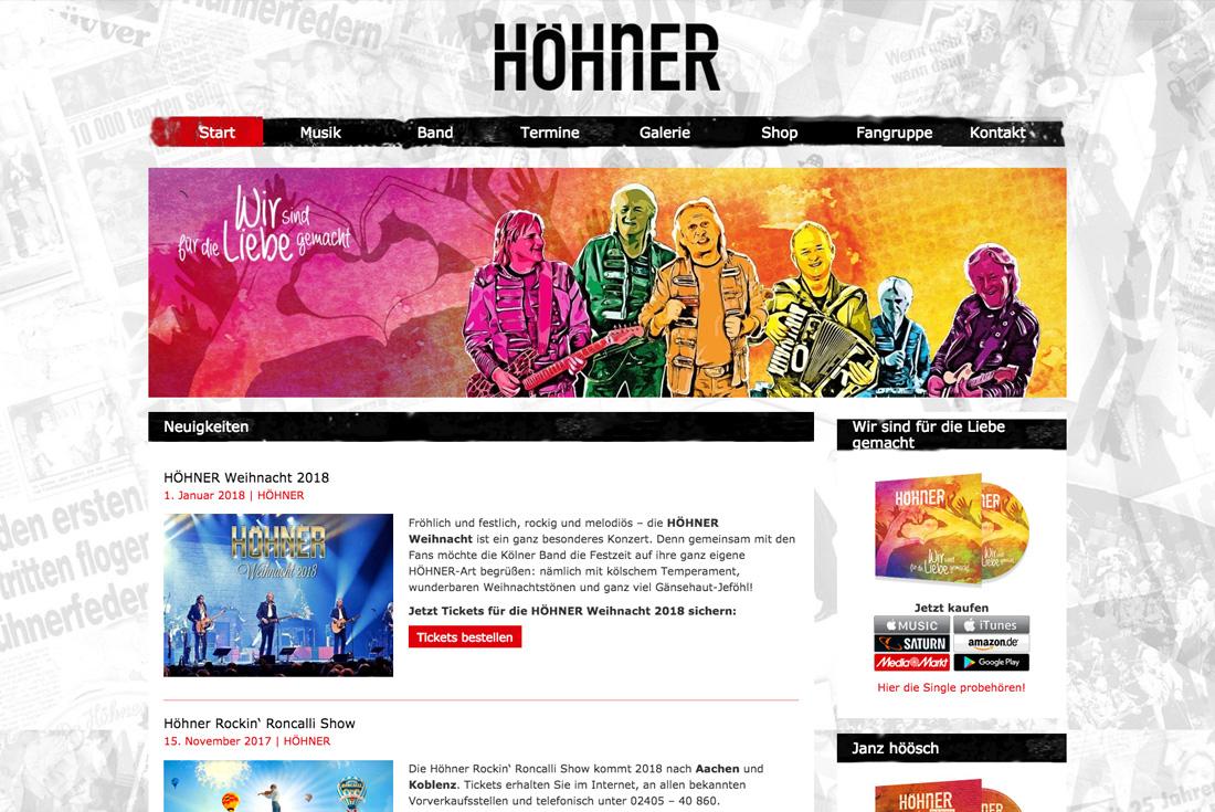 Webseite der kölschen Band HÖHNER, entwickelt durch die WordPress Agentur wilde van rhee