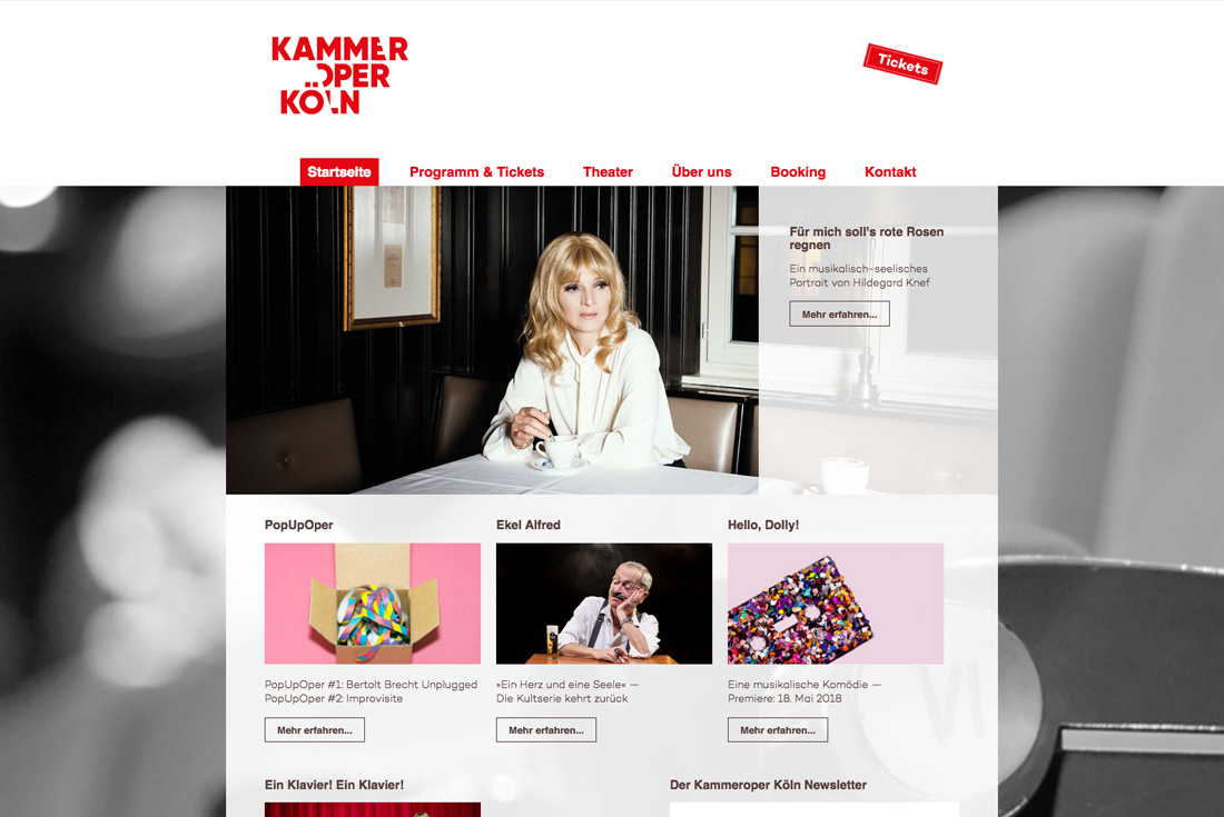 Webseite der Kammeroper Köln, entwickelt durch die Internet Agentur wilde van rhee