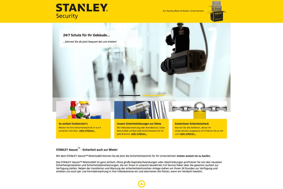 Microsite von Stanley Security, entwickelt durch die Internet Agentur wilde van rhee