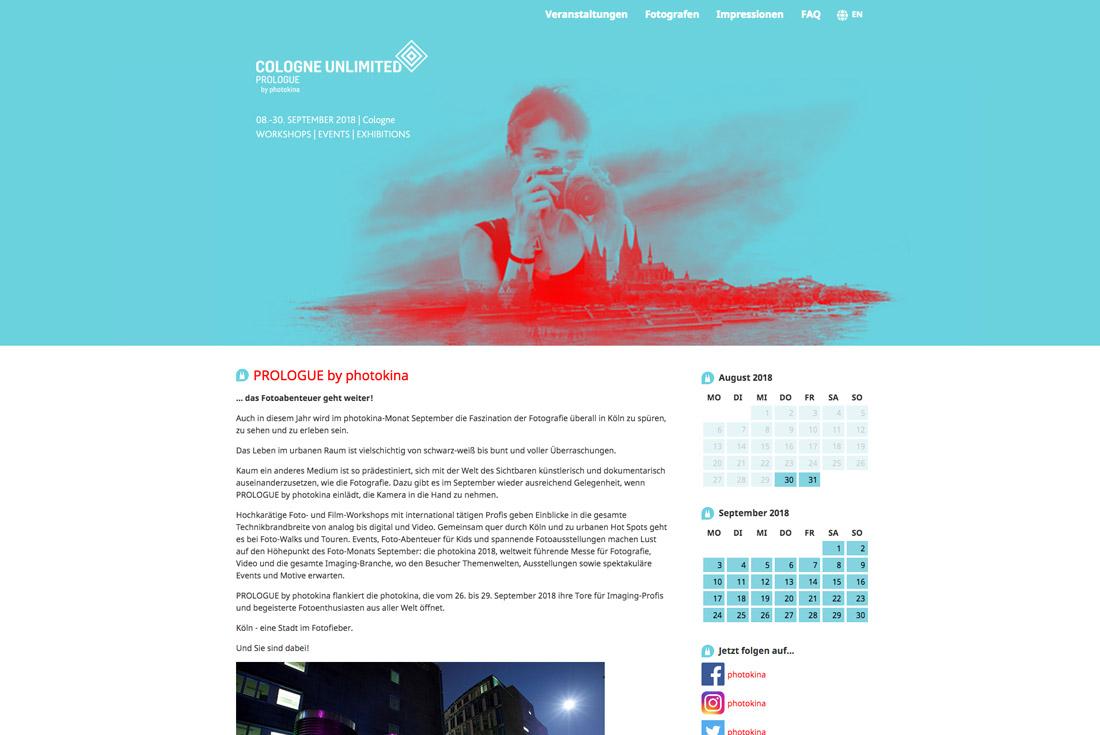 Webseite des Portals: PROLOGUE by photokina, entwickelt durch die Online Agentur wilde van rhee