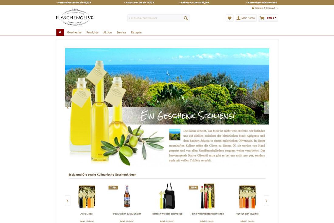 Onlineshop von Flaschengeist, betreut durch die E-Commerce Agentur wilde van rhee